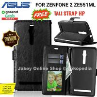 Leather Flip Cover Wallet Asus Zenfone 2 5,5 ZE551ML Dompet Kulit HP - Hitam