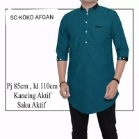 COD Kemeja Koko pakistan AFGAN baju muslim cowok pria ramadhan sale id - Hijau Toska