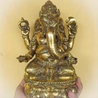 Patung Pajangan Arca Miniatur Kuningan Ganesha Emas