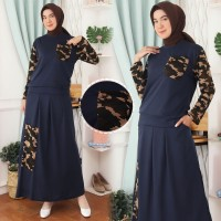Setelan Gamis Baju Atasan Rok Baju Muslim Motif Loreng Army SL