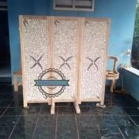 Sketsel penyekat jati - Partisi 3 pintu antik pemisah ruangan mentahan