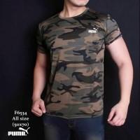 Baju Kaos Army Pria Gym Fitness Hijau Loreng Camo Olahraga Sport Puma