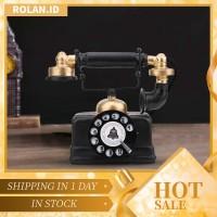 Rolan Antik Dekorasi Telepon Genggam Kabel Putar Klasik Retro