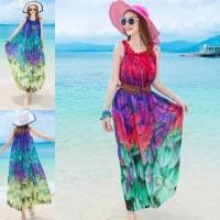 LW159 Baju Pantai Gaun Pantai Beach Dress Long Dress No Waist Line