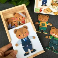 wooden bear puzzle / puzzle kayu anak montessori/early learning puzzle