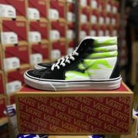 Sepatu Sneakers Vans Sk8-Hi Black White Flame Green Original 100% BNIB