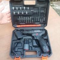 [HITAM] JLD 12V-SET Bor Obeng Bor Baterai 12 Volt Cordless Drill