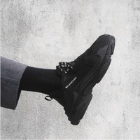 Sepatu Balenciaga Triple S Triple Black Premium Original Pria