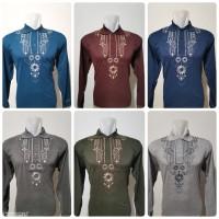 Baju Koko Bahan Kaos Tangan Panjang/ Baju Koko Bordir/Baju Muslim Pria