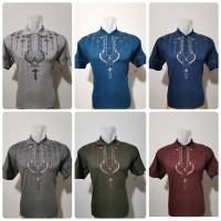 Baju Koko Bahan Kaos Tangan Pendek/ Baju Koko Bordir/ Baju Muslim