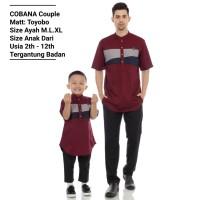 Baju koko kurta pria Couple ayah & anak bahan Toyobo premium CB02 - abu putih, XL anak 2-12