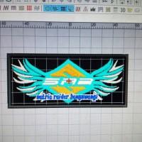 Jual Emblem patch logo satria raider banyuwangi ukuran 10 x 4,6 cm