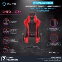 ONEX GX3 Premium Quality Gaming Chair Kursi - Merah