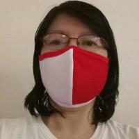 Masker kain merah putih 3 ply anti virus dan bakteri