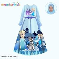 Gamis Frozen Anak Perempuan 10 - 13 Tahun . Baju Busana Muslim KM-28C