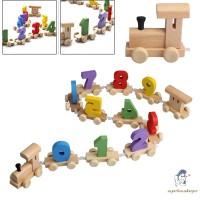 Mainan: Set Kereta Api Multi Gerbong+Balok Angka Bahan Kayu Multi