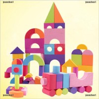 Yzid 50Pcs Mainan Balok Bangunan Bahan Busa EVA Lembut untuk Anak