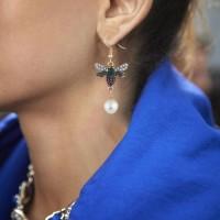 Women Bee Rhinestone Imitation Pearl Earrings Female All-match Metal