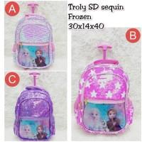 Troli SD Sequin Flip Glitter Frozen Koper Anak Trolley Backpack