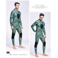 Wetsuit Spearfishing Neoprene 3mm Camo Full Body - Baju Selam