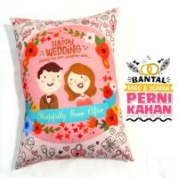 Bantal Kado & Hadiah Pernikahan Tema Happily - 30x40cm - Ready -NO PO