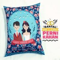 Bantal Kado & Hadiah Pernikahan Tema Polkarose 30x40cm - Ready - NO PO