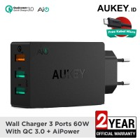Aukey PA T14 Travel Charger 3 Port 42W QC 3.0 - BLACK
