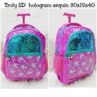 Tas Koper Ransel SD Sequin hologram Seperti Smiggle Backpack Bag Troly