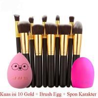Kuas Makeup Brush 10 Set Gold K008 + Brush Egg + Spon Beauty