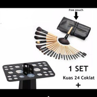 Makeup Brush 24 Set - Kuas Make up Set 24 pcs wooden handle