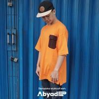 Kaos Oversized Jombo Pria Hypebeast Orange Pakai Kantong