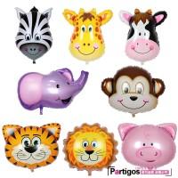Balonasia 1 set (isi 8) Balon Foil Animal Head Mini / Kepala Hewan / K
