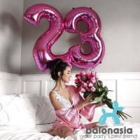 Balonasia Balon Foil Angka Pink Polos Jumbo 100cm (baru)