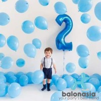 Balonasia Balon Foil Angka Biru Polos Jumbo 100cm (baru)