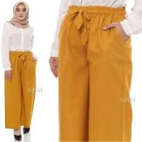 Celana Kulot Coullote Wanita Premium Linen Mustard Muslim Wanita