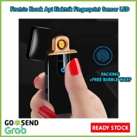 Korek Api Elektrik Fingerprint Sensor LED USB Rechargeable - Black