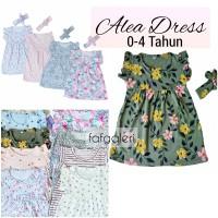 Alea Dress Bandana 0-4 Tahun Baju Anak Bayi Perempuan Motif Kaos Katun
