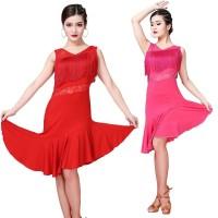 Exercise Clothes New Lace Vest V-Neck Sleeveless Fringed Latin Dance