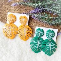 Tropical Bohemian Monstera Leaf Korean Style Earring Anting Daun Murah