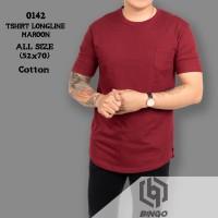 Tshirt Kaos Longline ala Kurta Merah Maroon Polos Berkantong Pria 0142