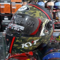 Helm Full Face KYT Rocket #3 Black Doff / Green Army / Red Fluo