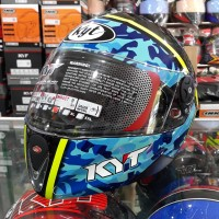 Helm Full Face KYT Rocket Seri #3 Black / Blue Army / Yellow Fluo