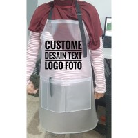 custome apron/celemek murah and Synthetic Leather - Putih, polos