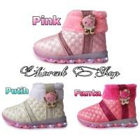 Sepatu Boots Anak Perempuan LED Hello Kitty Cantik