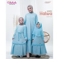 HLW 01 Baju Muslim Couple Ibu Anak Labebah Halwa Biru