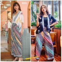 Setelan Batik Wanita Outer Bolero Wayang dan Kulot Parang Rainbow