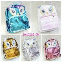 Tas Ransel Backpack Fashion Sequin Model Justice Owl / Tas Manik Usap