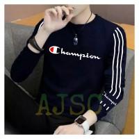 Kaos pria baju lengan panjang cowok bahan babyterry baju CHAMPION (M) - Navy, M