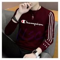 Kaos pria baju lengan panjang cowok bahan babyterry baju CHAMPION - Maroon, M
