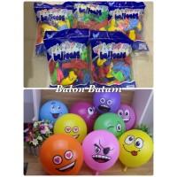 Grosir isi 100pcs balon karakter smile warna warni random